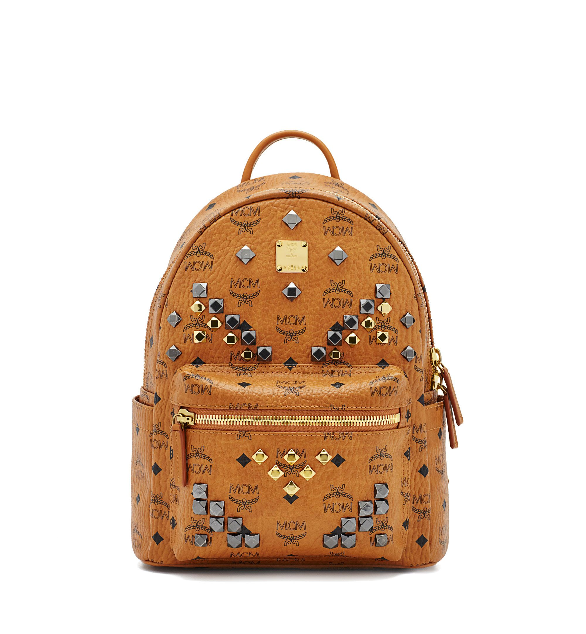 MCM STARK BACKPACK IN M STUDDED VISETOS. #mcm #bags #leather #lining