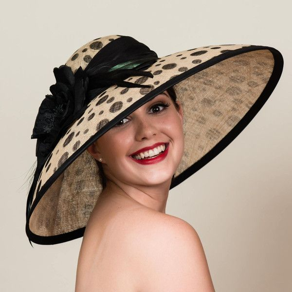 Wide Brim Kentucky Derby Hat In Polka Dots Black Dots On Natural 450 Liked On Polyvore Featuring Accessories H Kentucky Derby Hat Derby Hats Rose Hat