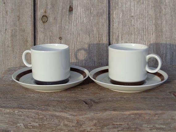 Pair Of Swedish Vintage Small Coffee Cups Saucers Rörstrand
