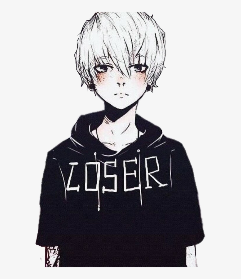 Download Animeboy Anime Boy Piercing Black Loser Whitehair Anime Boy Black And White Png Image With Anime White Hair Boy Anime Boy Hair White Hair Anime Guy
