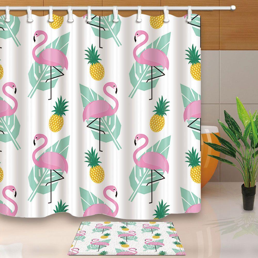 Tropical Fruit Pineapple Palm Leaves Waterproof Fabric Shower Curtain Bathroom