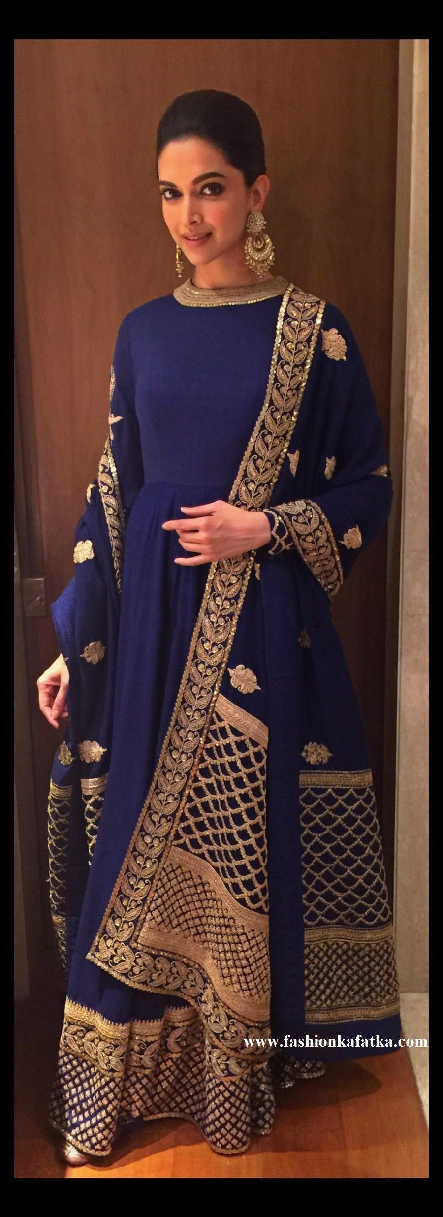 Deepika padukone designer blue anarkali neck pattern u embroidery