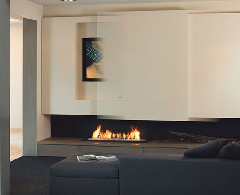 Minimalist Fireplace Design with TV set sliding fireplace tv