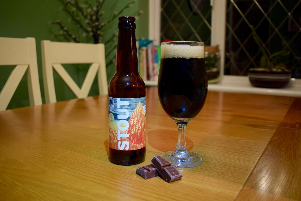 Big Drop Brewing Stout bottle and glass Best non