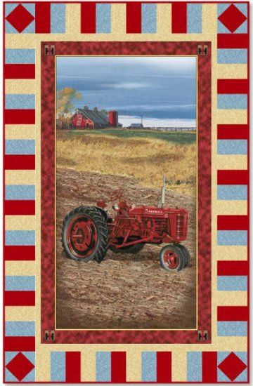 On The Farm Tractor Panel Quilt Kit Farmall Fabric