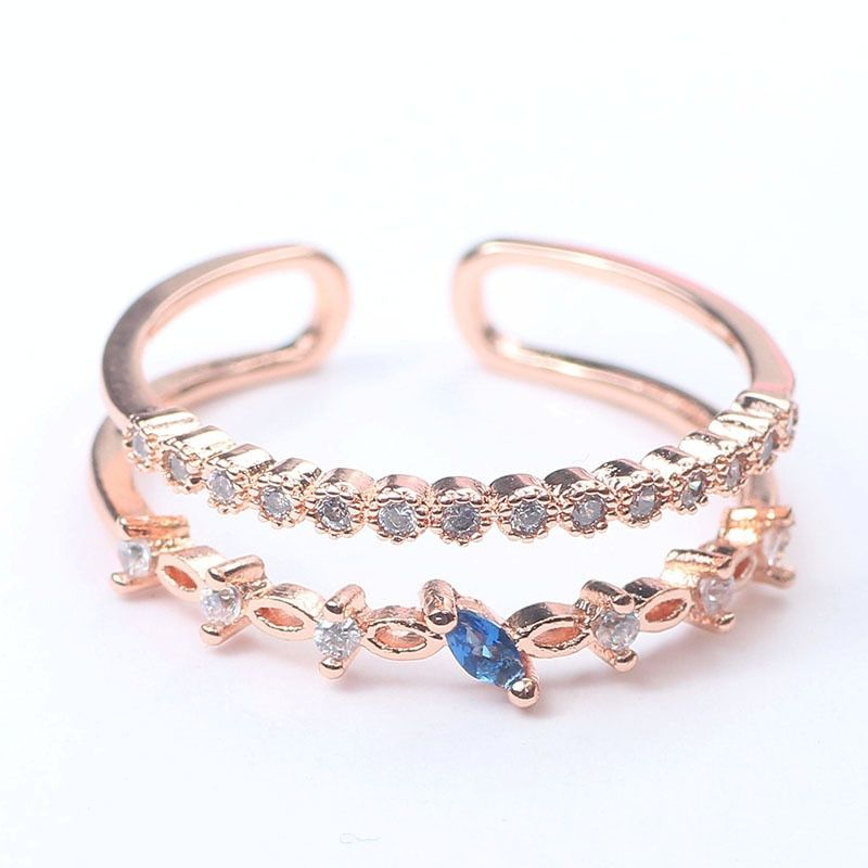 Crystal zircon metal with diamond ring temperament wild simple ring jewelry female