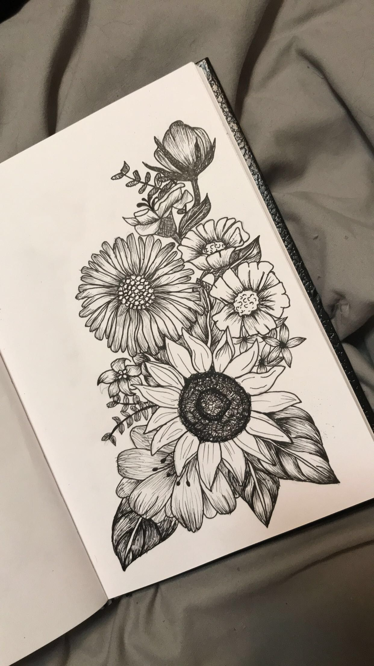 Passion Flower Above Sunflower And Poppies On The Right Hand Side With Lavender Behind Them Inspirational Tattoos Tattoo Drawings Tattoos