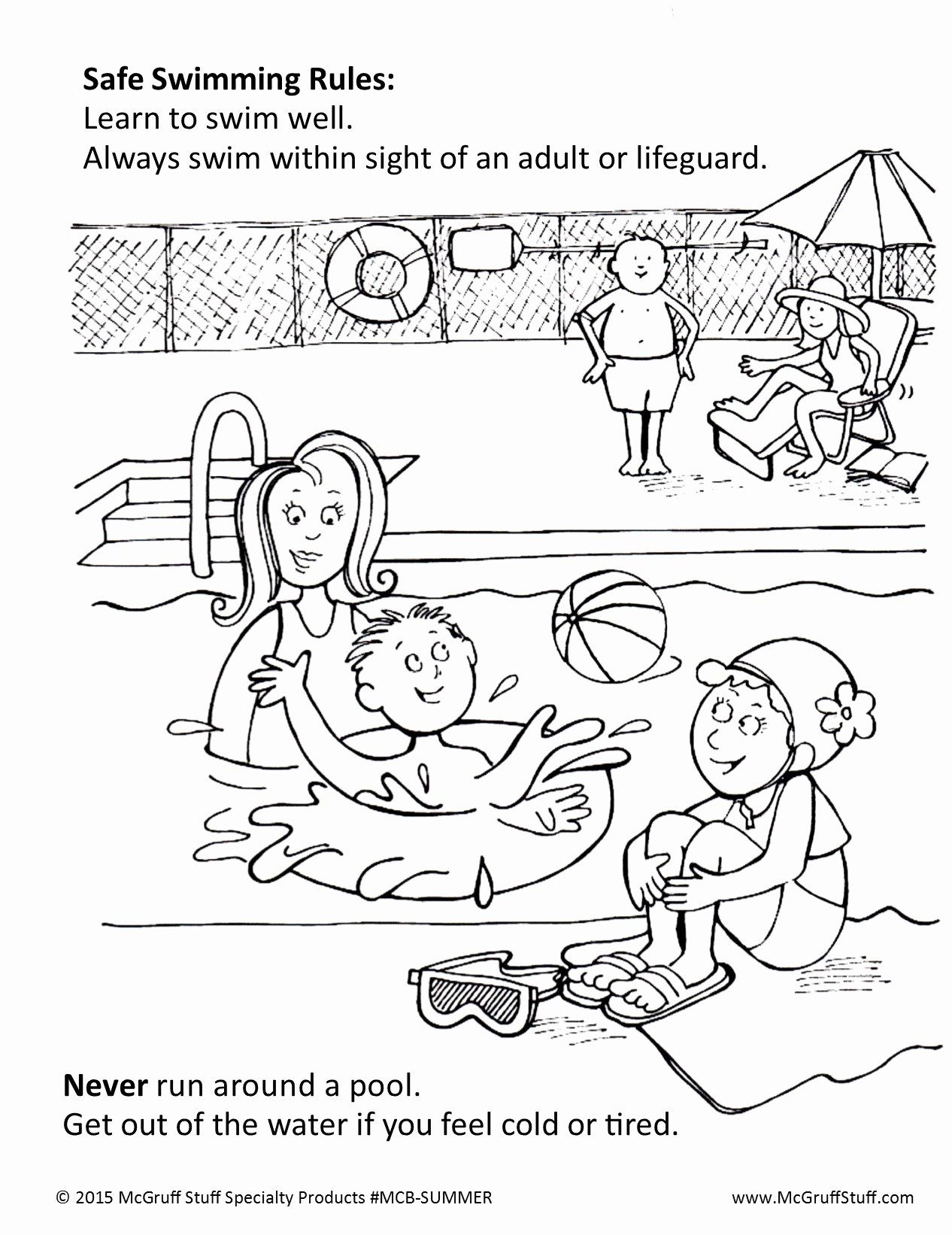 Summer Safety Coloring Page in 2020   Coloring pages ...