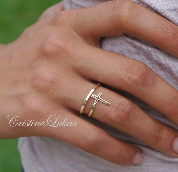 Celebrity Style Cross Ring Double Wrap Cross By Pass Cross Ring Yellow Gold Rose Gold Or Sterling Silver In 2020 Cross Ring Yellow Gold Rings Sideways Cross Ring