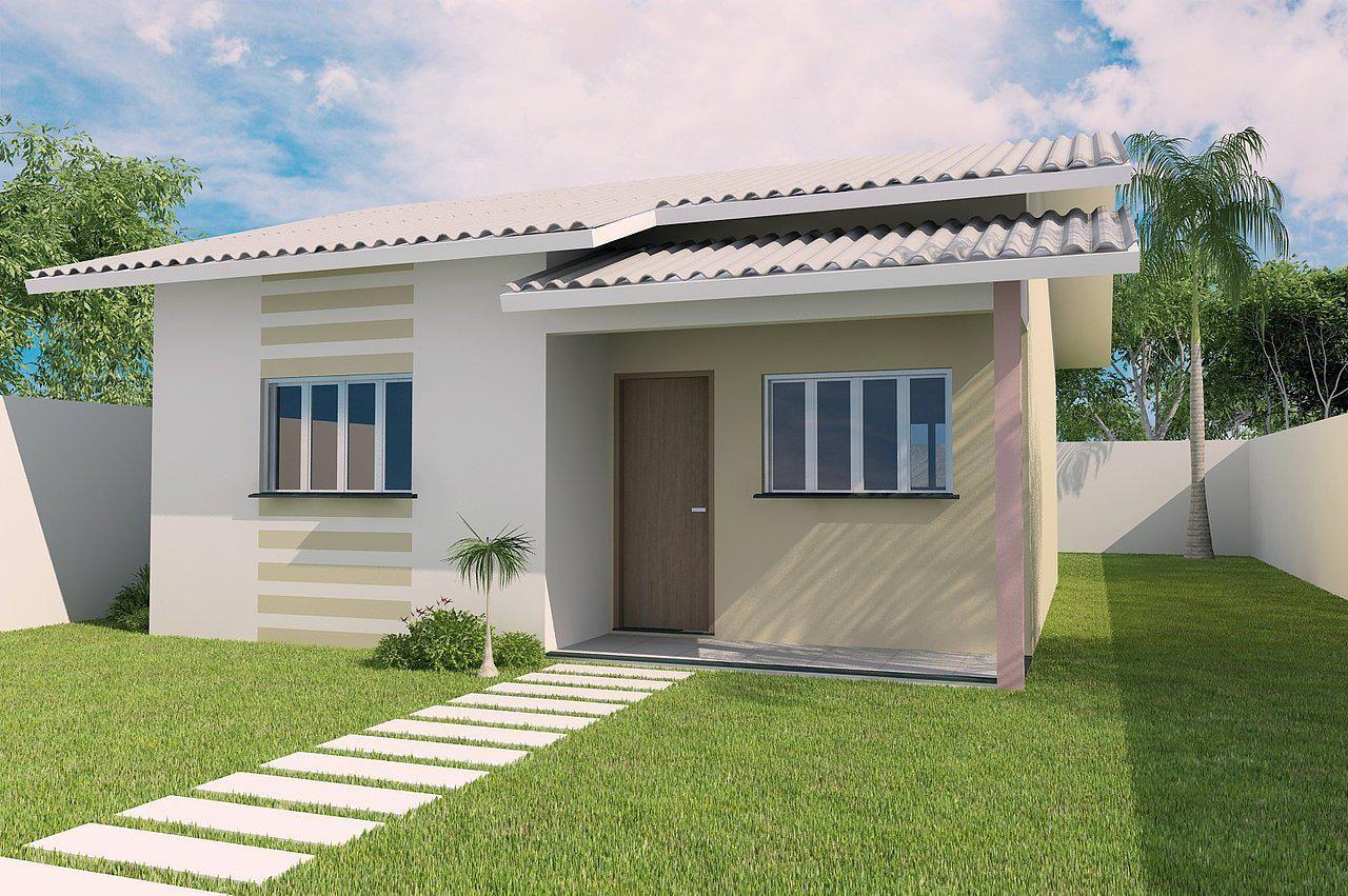 Fachada casa simples pequena 99 casa pinterest for Modelos de casas medianas