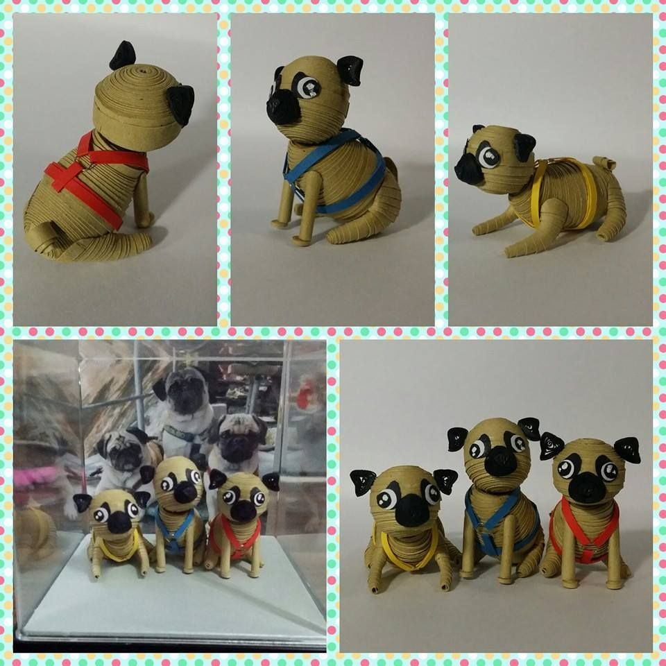 3D quilled pugs