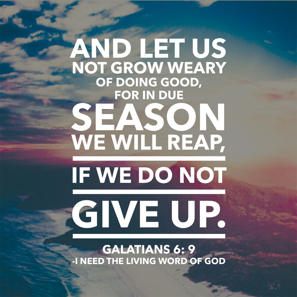 Galatians 6:9 And let us not grow weary of doing good, for in due season we will reap, if we do not give up. | Word of god, Words, Fun things  to do