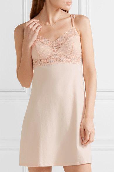 Eberjey | Zelia lace-trimmed stretch-cotton chemise | NET-A-PORTER.COM