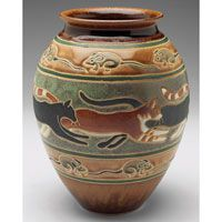 Common Ground Pottery vase, contemporary, bulbous shape with cats and mice, signed by Eric Olson, 2011