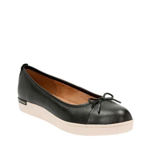 Clarks Women's Cordella Alto Black Leather Flat B (M)