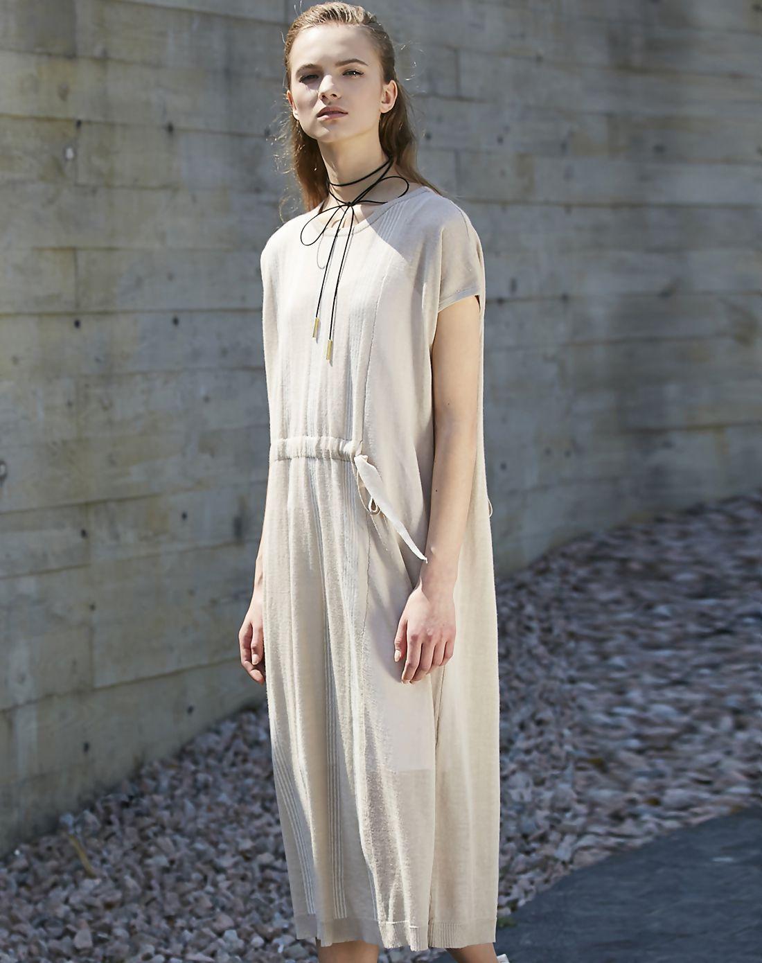 #AdoreWe #VIPme Shift Dresses - Designer SIKYA Beige Striped Belted Knitted Midi Dress - AdoreWe.com