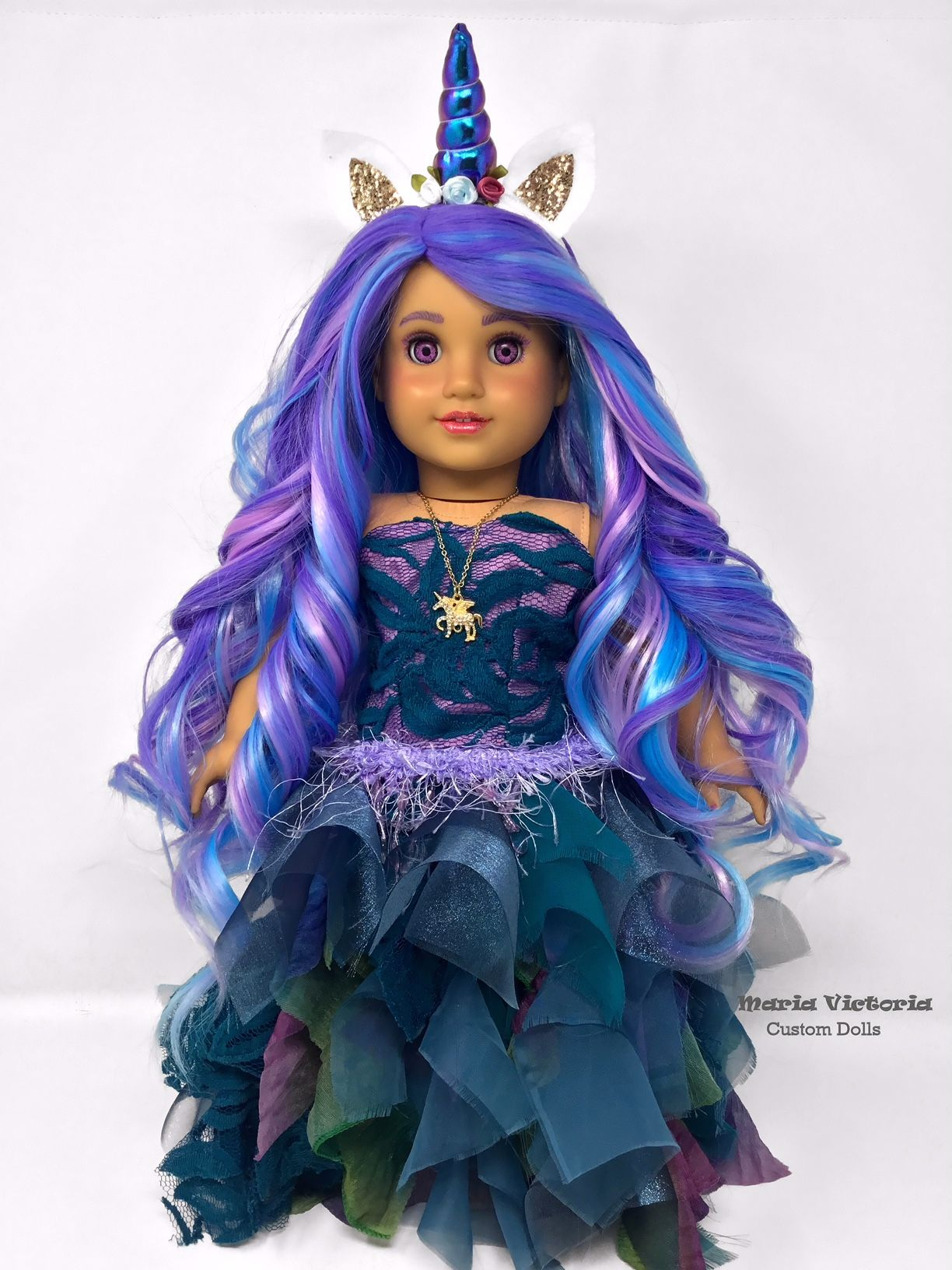 American Girl Custom OOAK Doll Purple Iridescent Unicorn Princess #americangirl #dolls #mariavictoriacustomdolls #unicorn #unicornprincess #americangirlhouse