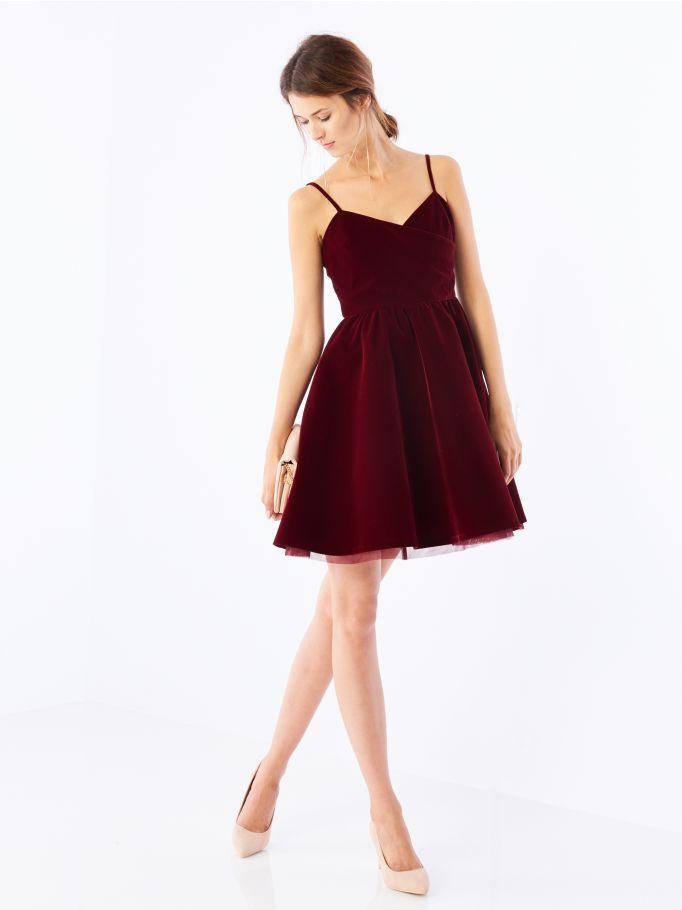 74d92cf374f5e8 Welurowa sukienka z tiulem, MOHITO   studniówka w 2019   Sukienki ...