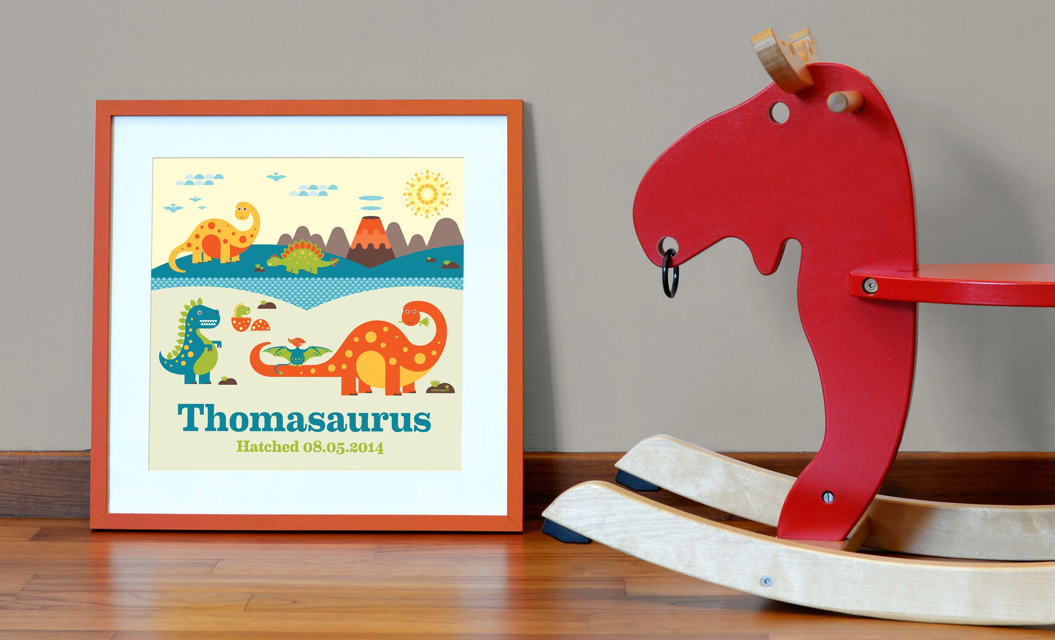 NEW Sammyeve Dino friends personalized art for children http://sammyeve.com/garden