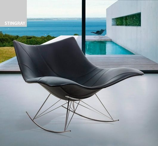 The Stingray rocking chair designed by Thomas Pedersen upholstered in soft leather for superior comfort