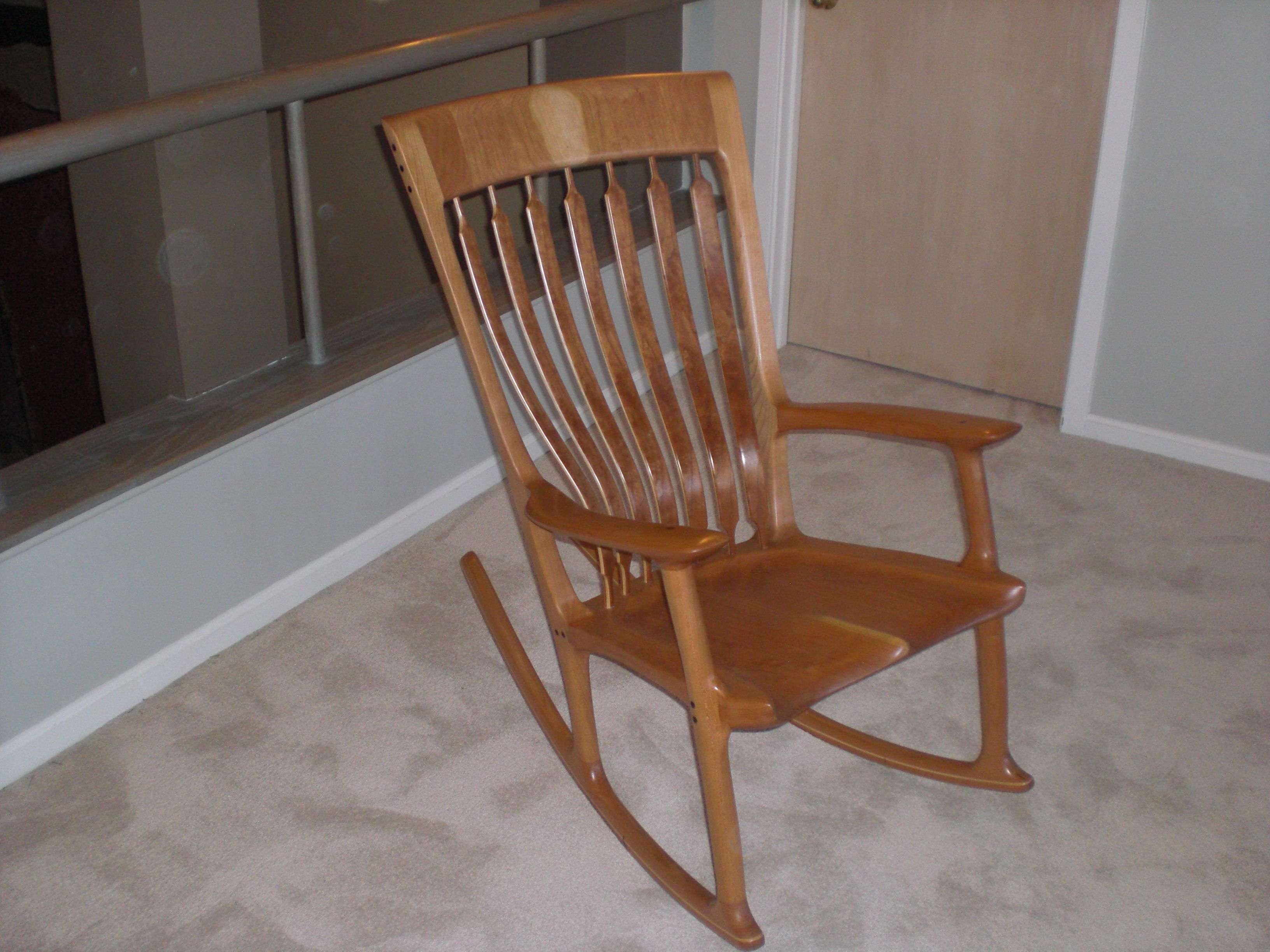 Sam Maloof Rocking Chair Plans Hal Taylor Gold Accent And Inspired Shown Made In Cherry With Curly Ash Ebony Accents