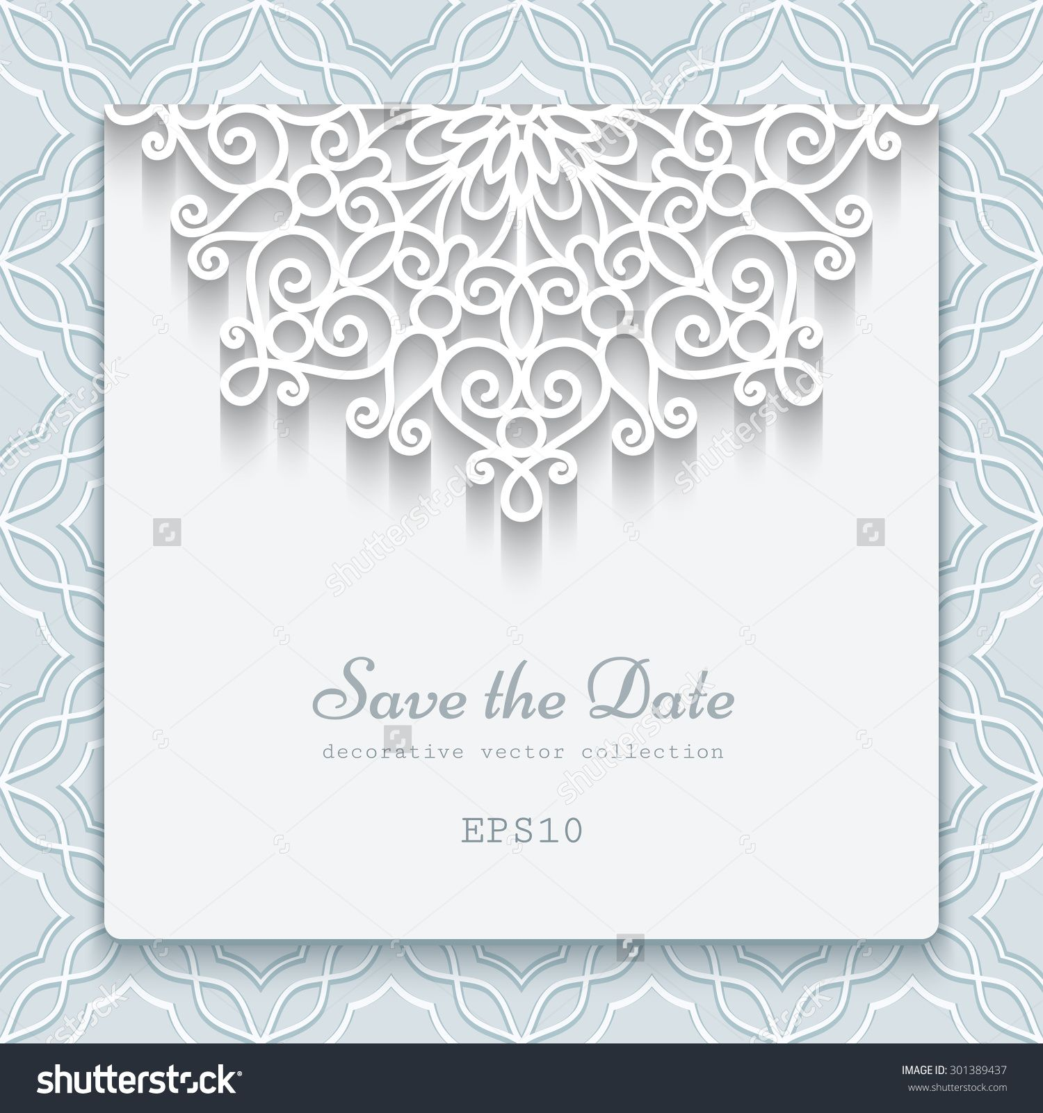 elegant save the date card with lace decoration vintage wedding