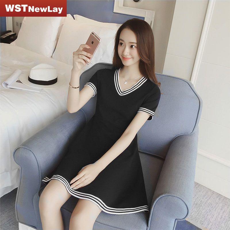 >> Click to Buy << Black A-Line V Neck Casual Dress Summer Dress 2017 Women Party Cotton Dresses Sexy Dresses Cheap Clothes Plus Size Dresses   #Affiliate