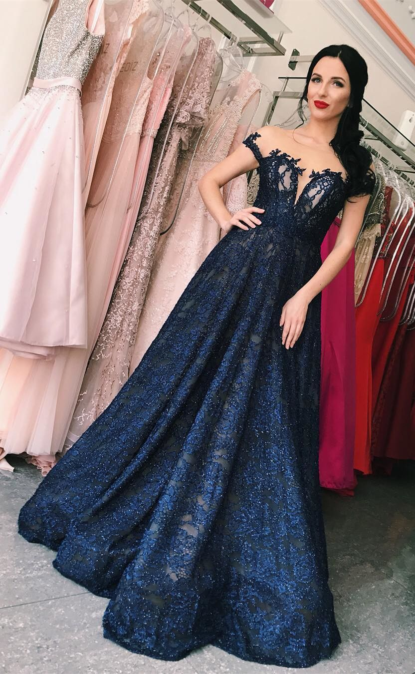 03ad7738f7542 A-Line Bateau Cap Sleeves Floor-Length Dark Blue Lace Prom Dress ...