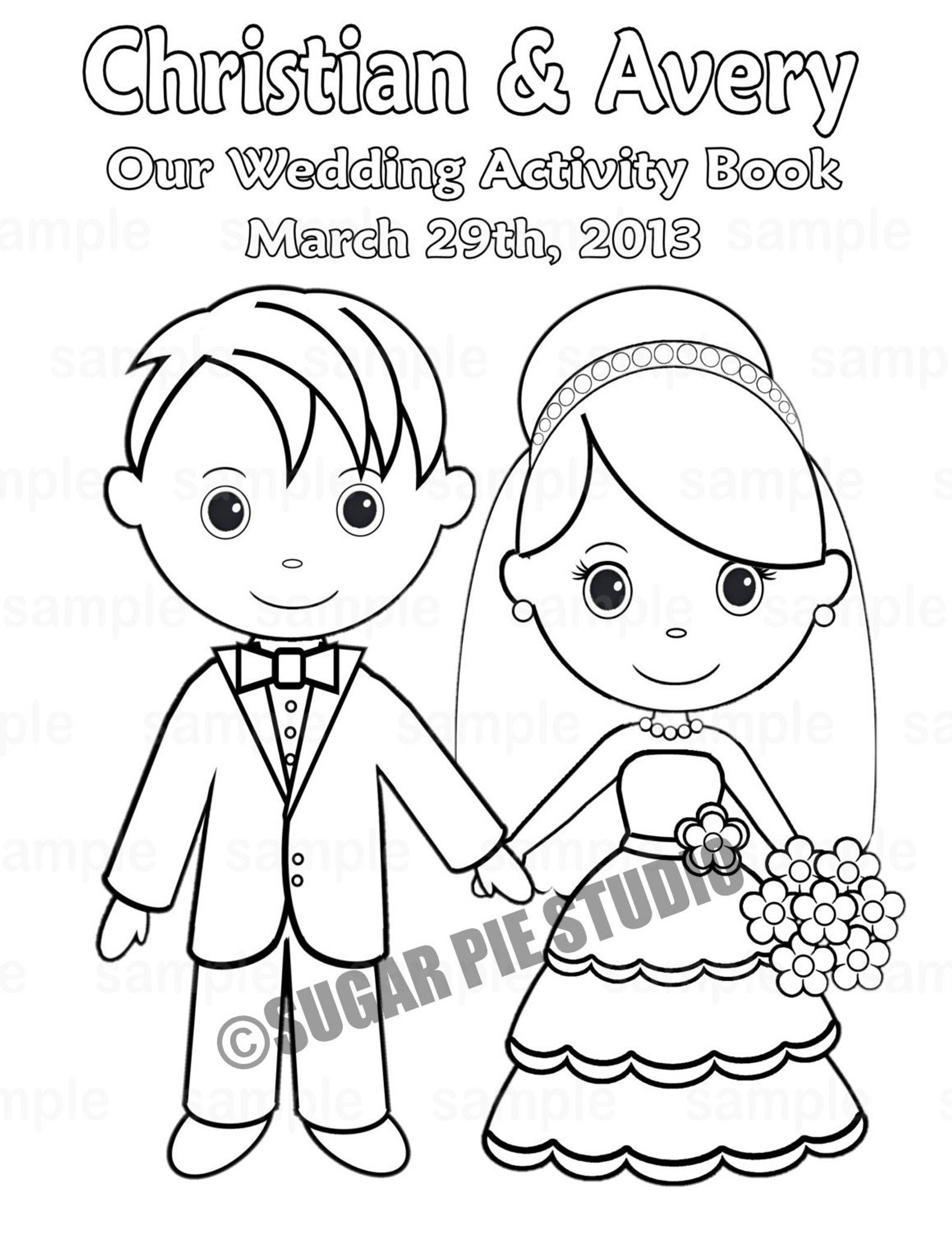 Mini Printable Personalized Wedding Coloring Activity Book Etsy Wedding Coloring Pages Wedding With Kids Book Favors