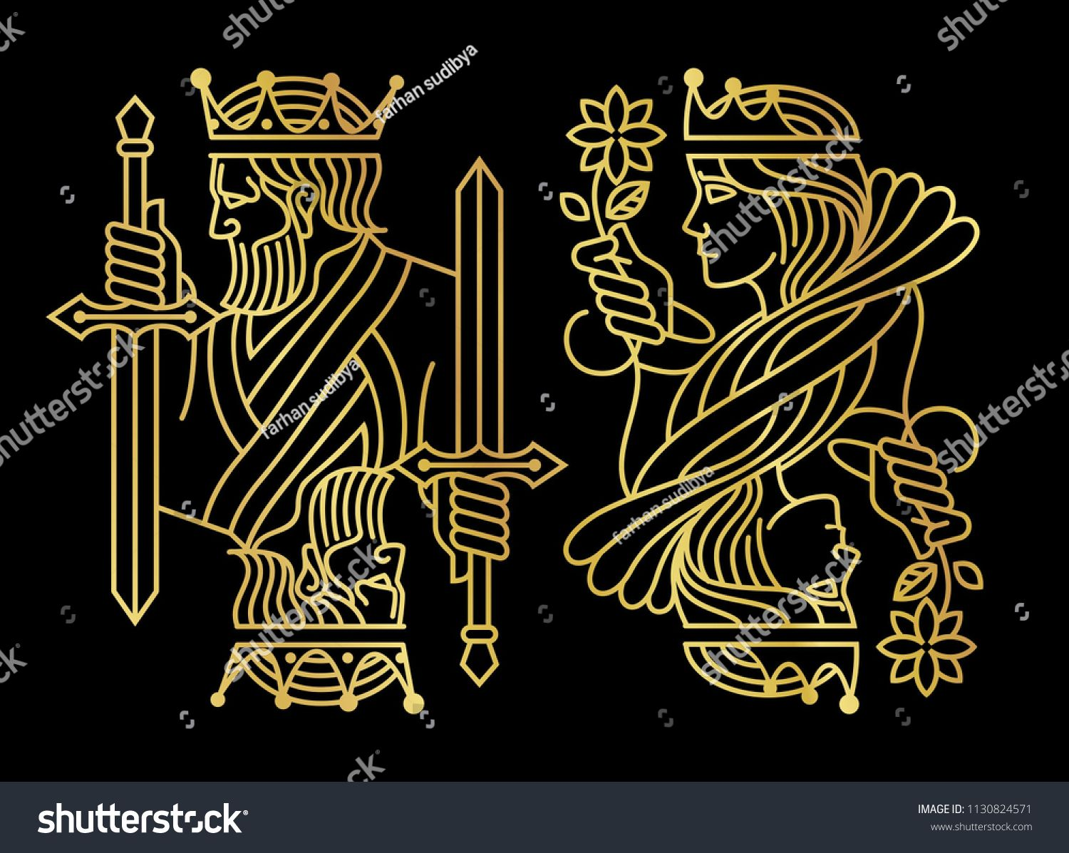 Luxury Golden King And Queen Playing Card In Dark Background Sponsored Sponsored King Queen Luxury Golden Queen Art Dark Backgrounds Cards