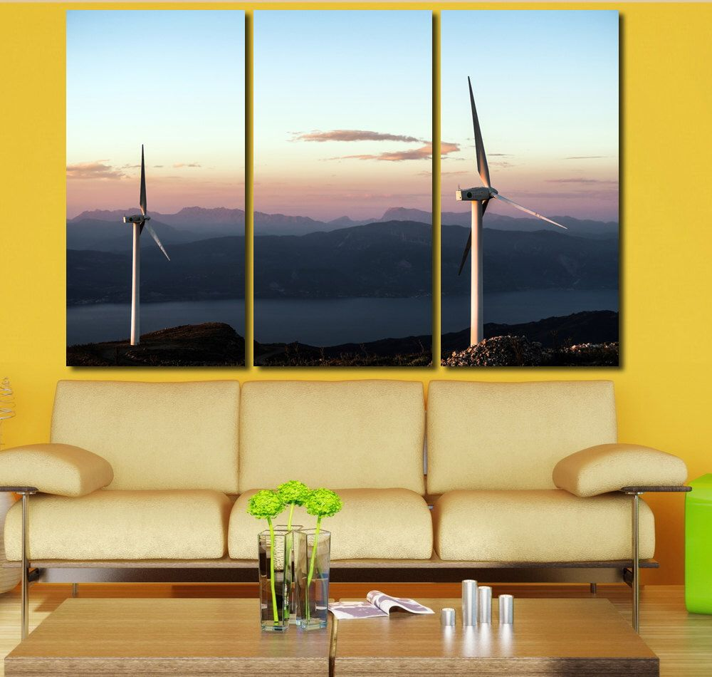 Wind Turbine Wall Art Multi Panels Set Engine Wall Art Canvas ...