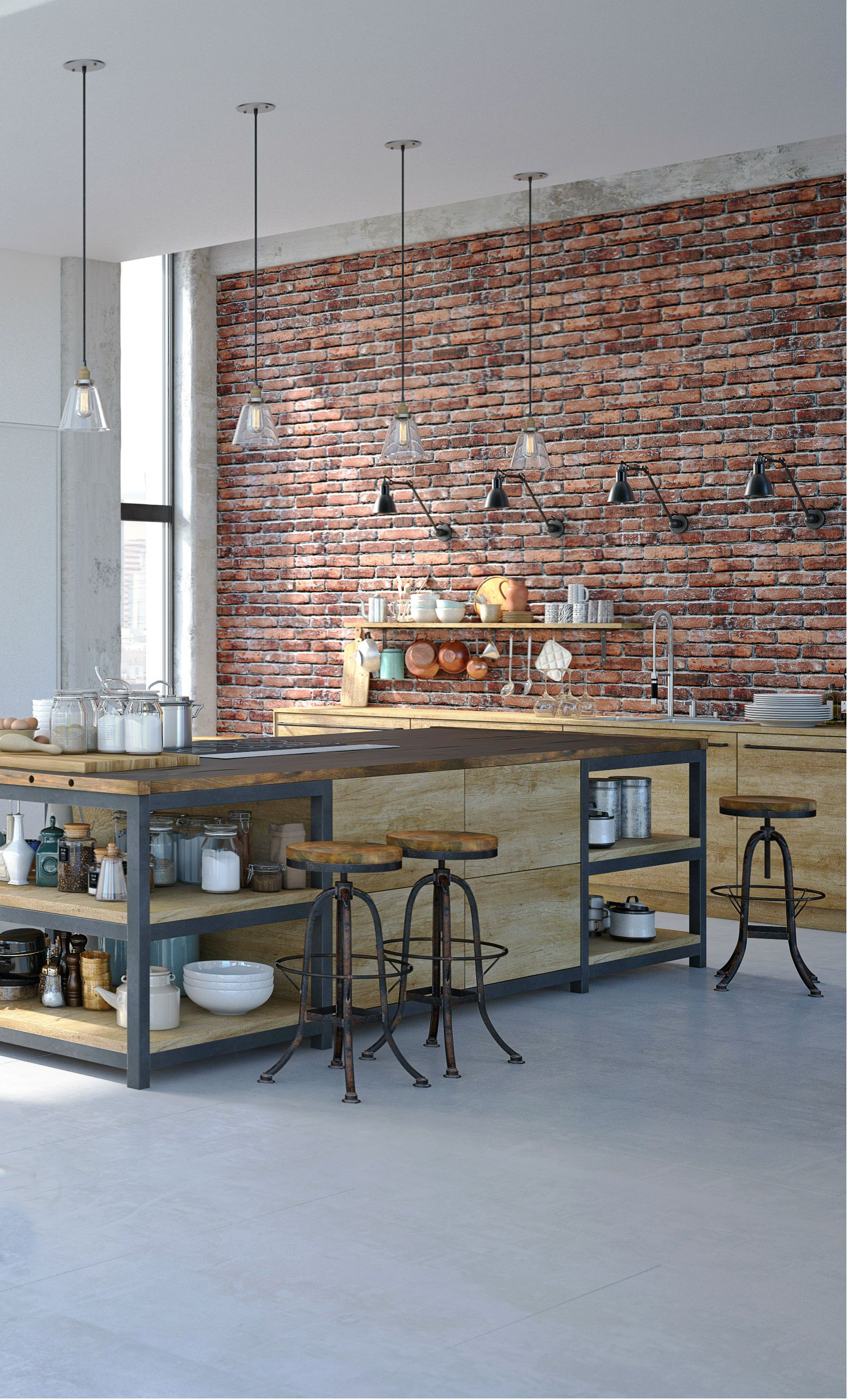Industrial kitchen design with an amazing red brick veneer accent