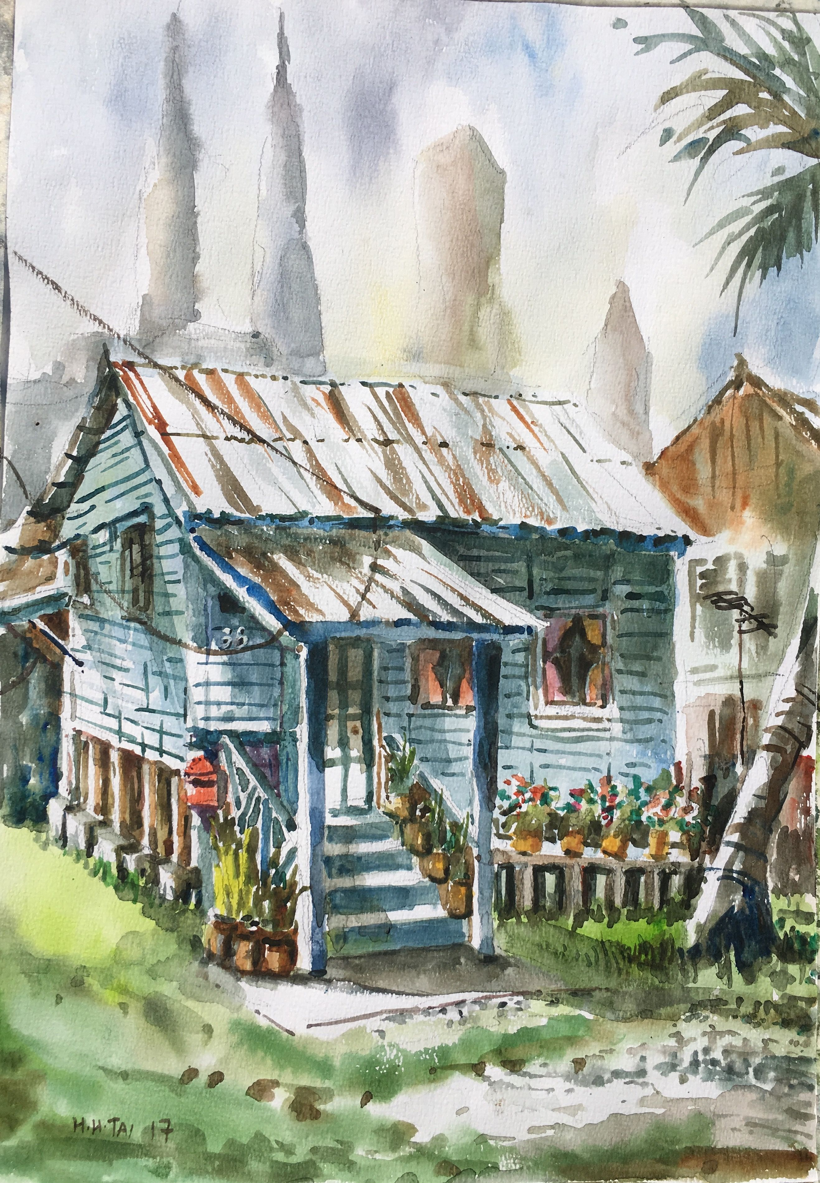 Rumah Biru Kampung Baru Watercolour By Brian Tai Kampung Baru