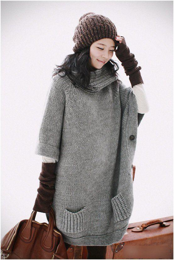 Fashion Women High Collar Loose Grow Sweater | Ladies knitwear ...