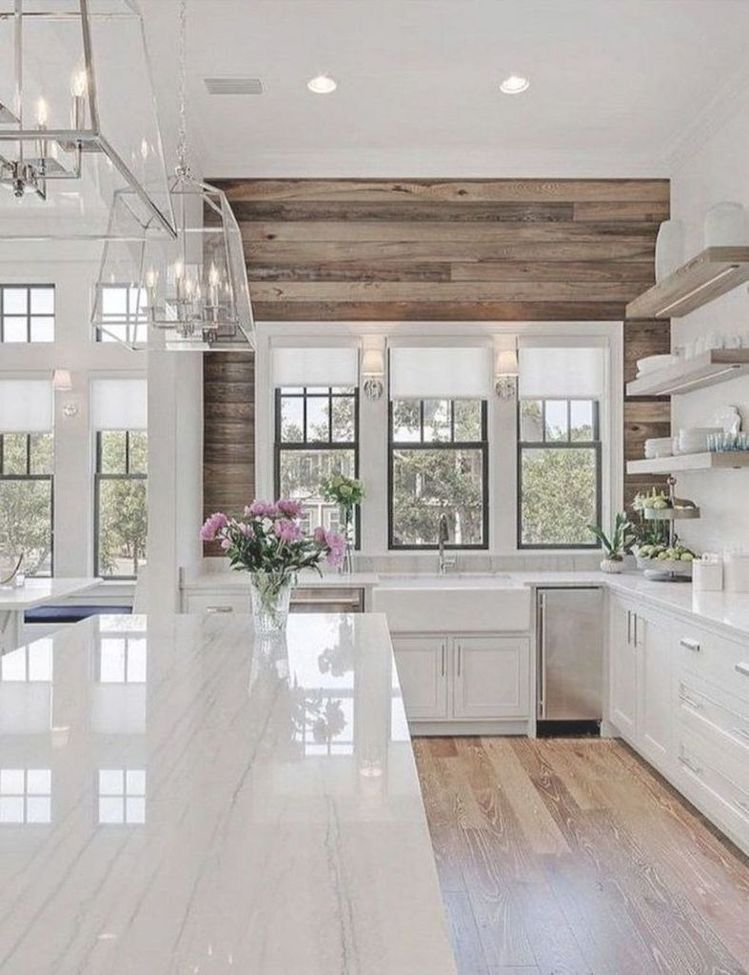 White Gloss Kitchen Island Natural Wood Plank Feature Wall Decor Modern Farmhouse Kitchens Farmhouse Kitchen Decor House