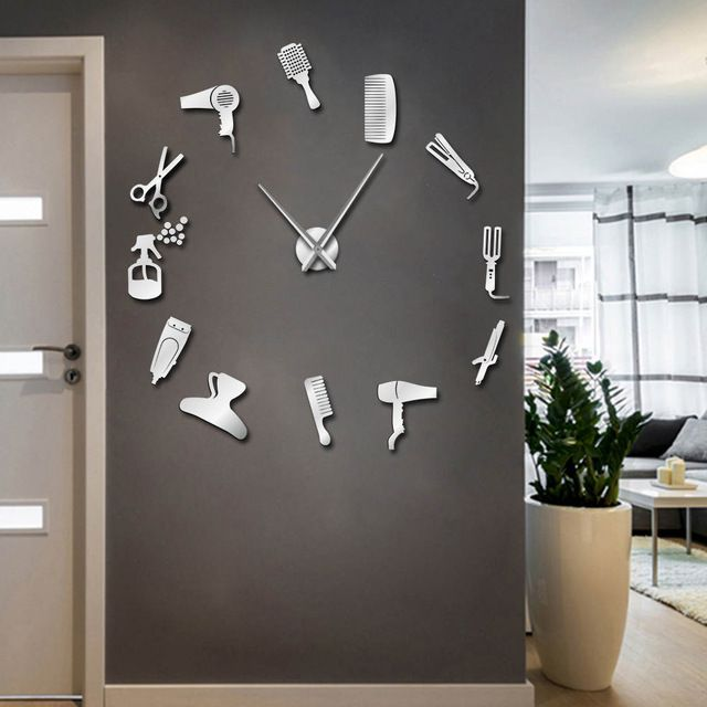 Barber Shop Hair Tools Over-sized DIY Wall Clock Frameless, Hair Salon Big Time Clock, Fashion Hairdresser User-defined Room Decor - EZ 2 Buy