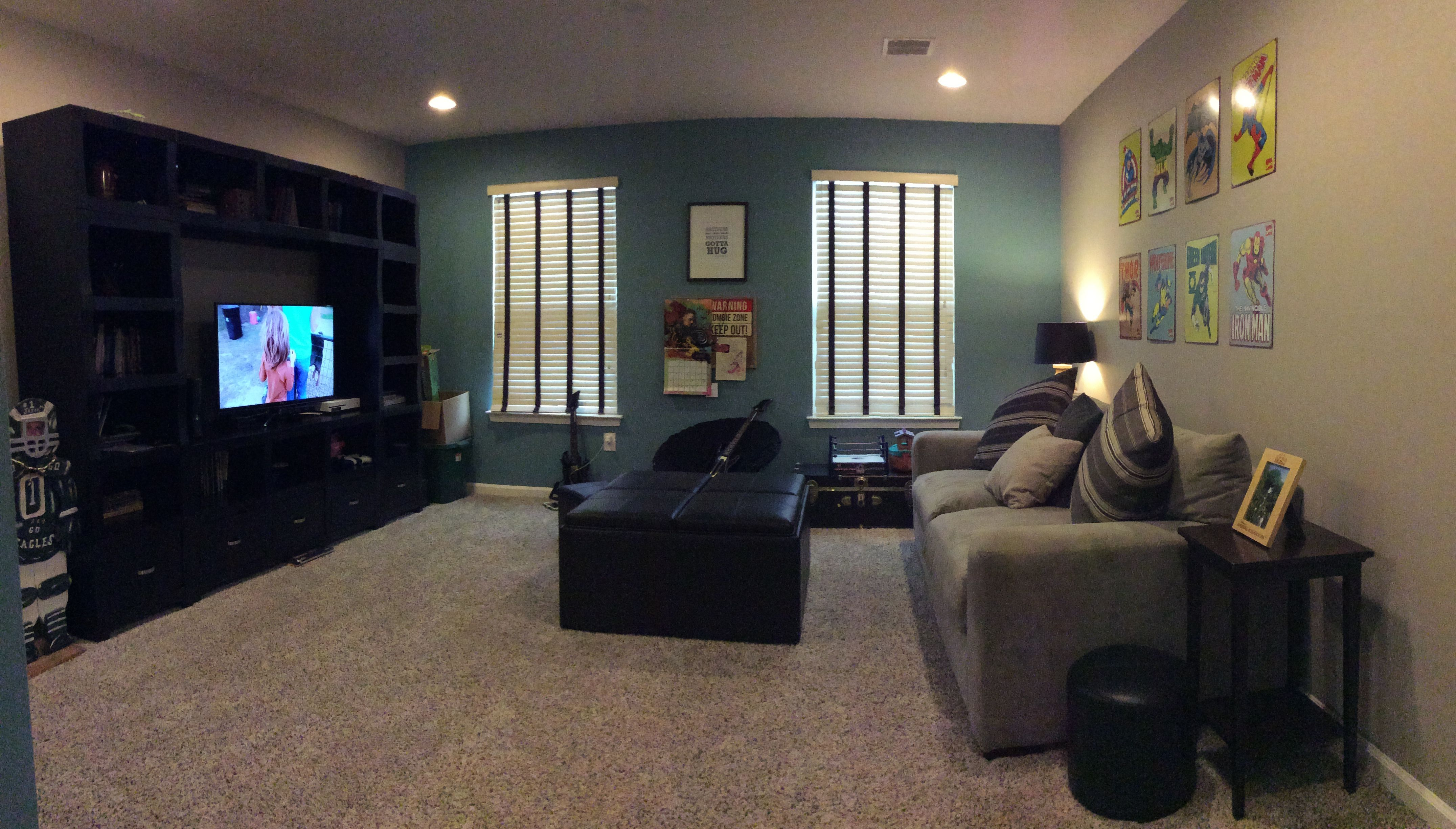 Ryan Homes Rome Model Loft Area Sherwin Williams Tranquil Aqua Accent Wall Anew Grey Other Walls Superhero Theme Boys Raymour And Flannigan