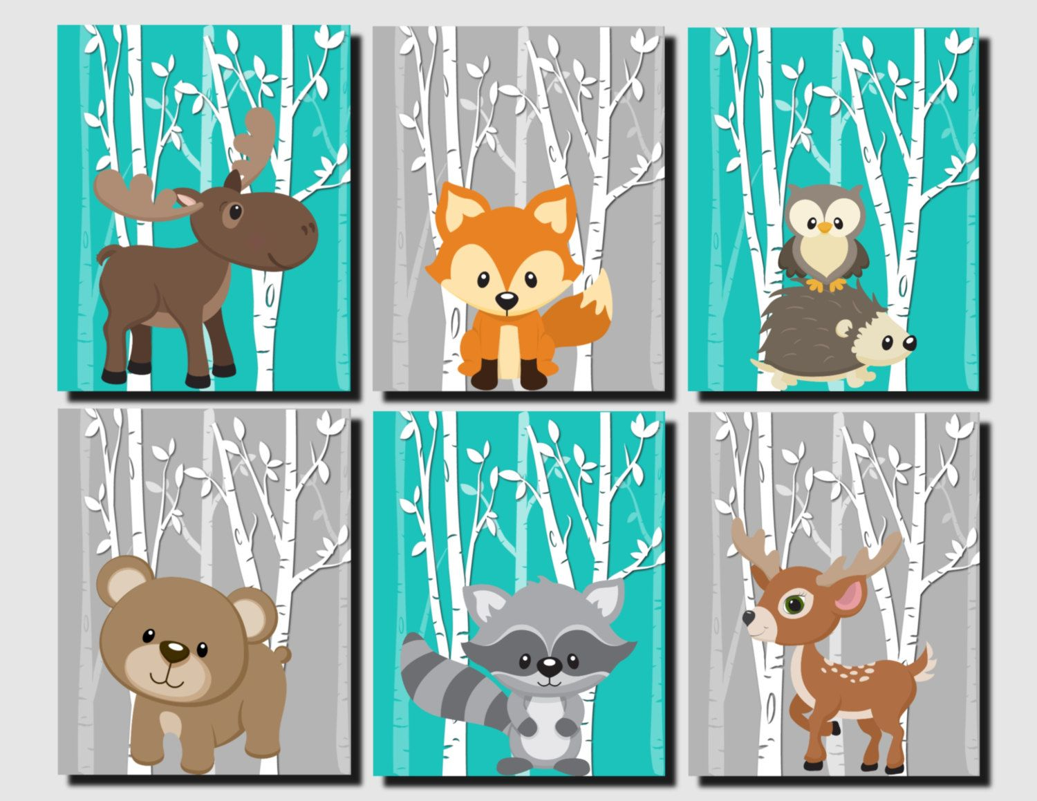 Woodland Nursery, Woodland Wall Decor Kids, Teal, Gray, Forest Animals Wall  Art