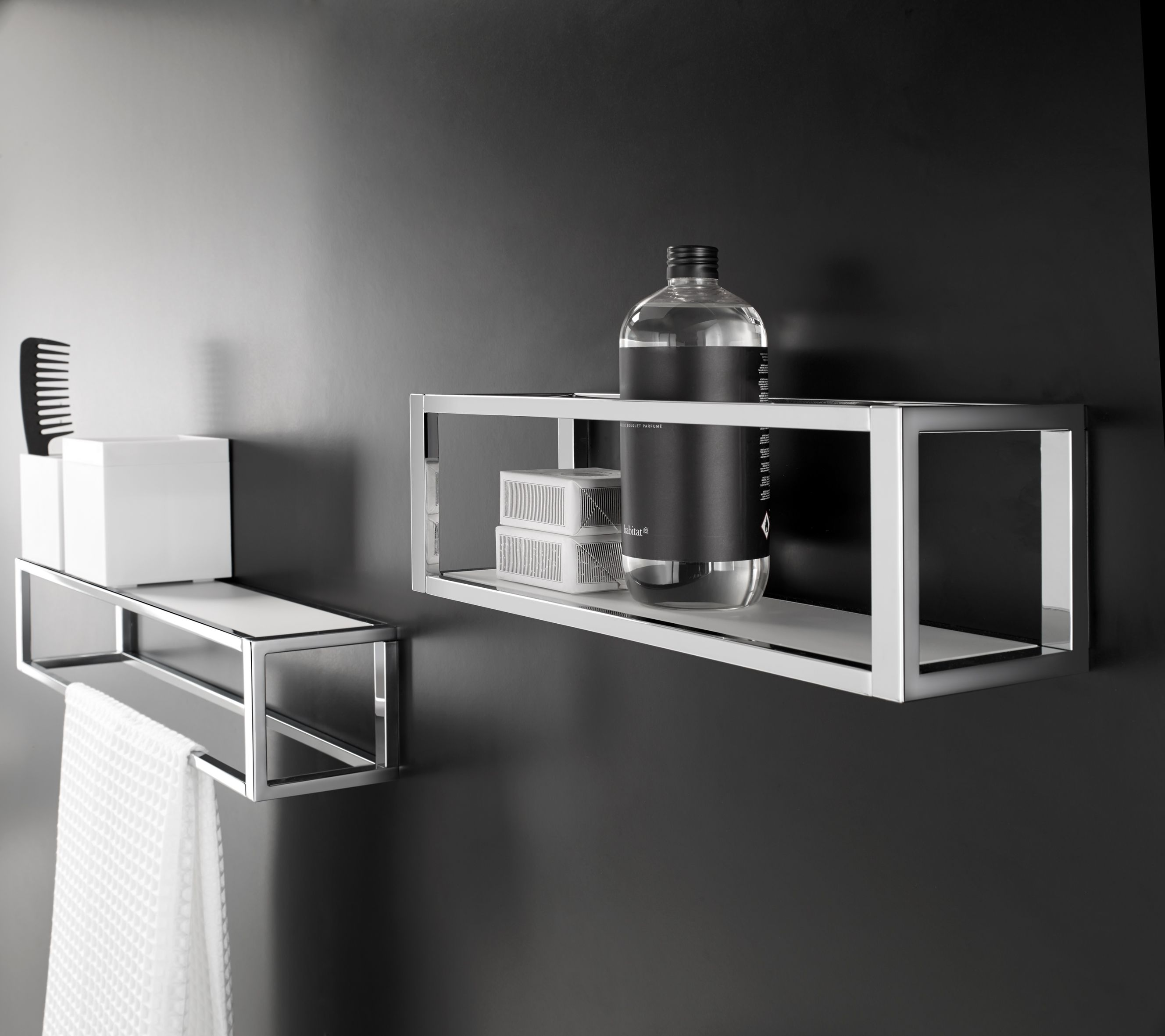 The Grid accessories collection by Cosmic. Design by Ricard Ferrer. Towel rack with shelf/basket.