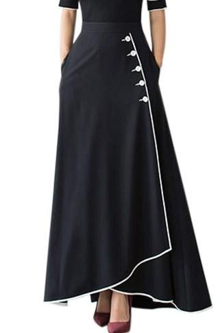 e62172179d95 Black Piped Button Embellished High Waist Maxi Skirt in 2019   My ...