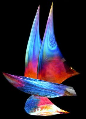 Dino ROSIN Hand Blown Murano Glass Signed Sailboat Sculpture Art