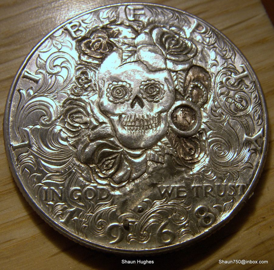 Carved coin Memento Mori Skull Roses Watch dollar by shaun750