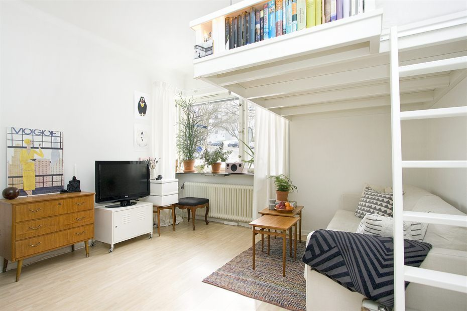 Best Small Swedish Studio Apartment Elegantly Combines Loft Bed 640 x 480