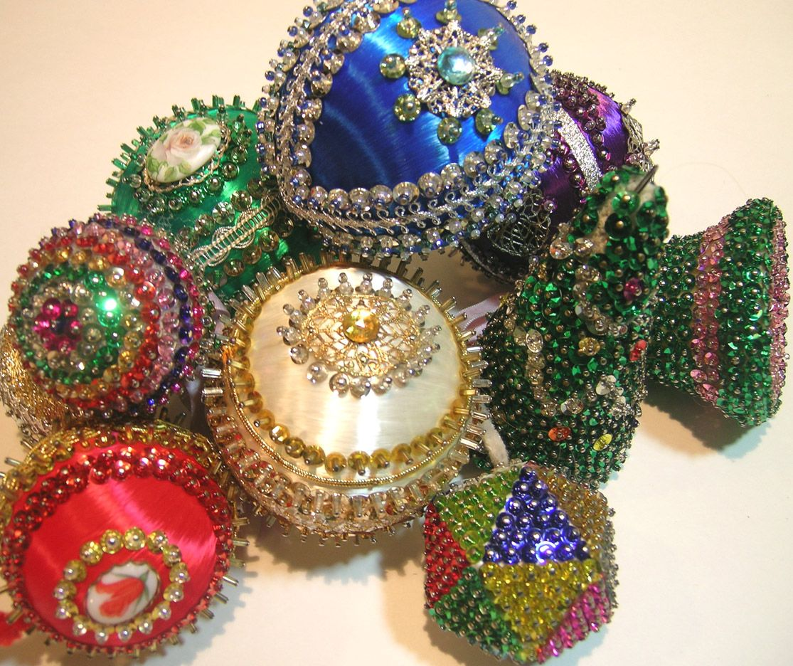 Old Sequin Ornaments | Beaded christmas ornaments, Sequin ...