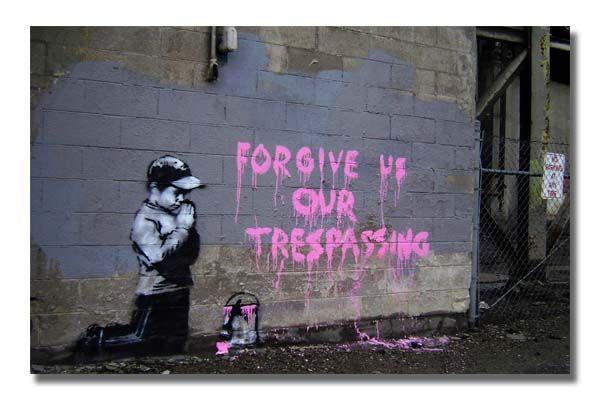 Banksy - Child Pray Forgive Us Street Graffiti Stencil Art