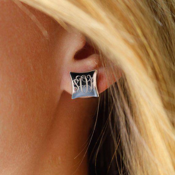 Monogrammed Earrings Studs Silver Monogram Gold Square Or Rose Mon