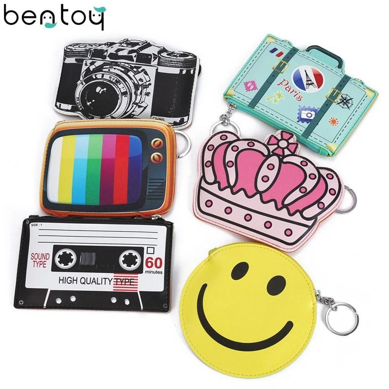 Bentoy Funny Leather Wallet Woman Fantasy Coin Purse Cute Camera Emoji Tv Design Purse Girls Small Bag Key Ring Change Pouch Wallets For Women Leather Wallets For Women Cute Camera