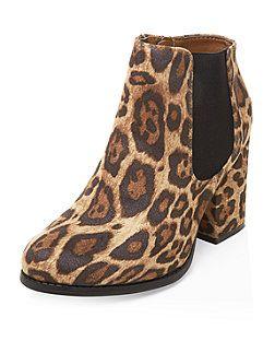 3093de5957b Stone Suedette Leopard Print Block Heel Ankle Boots