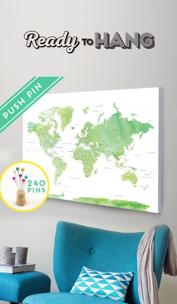 Push pin travel map canvas world map watercolor green countries push pin travel map canvas world map watercolor green countries world map with pins gumiabroncs Image collections