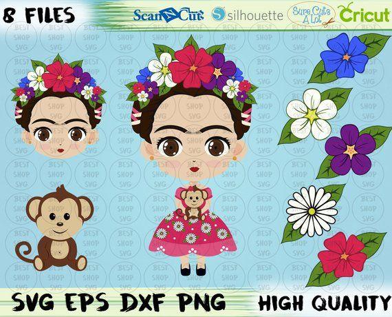 Frida Kahlo Svg Eps Png Frida Kahlo Digital Frida Kahlo Face Frida Kahlo Printable Download Mexican Crafts Frida Kahlo Crafts